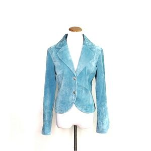 Live A Little Baby Blue Suede Blazer Size Medium